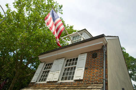 The Betsy Ross House on East Third Street, Philadelphia, Pennsylvania, where Betsy Ross created first American flag in 1777