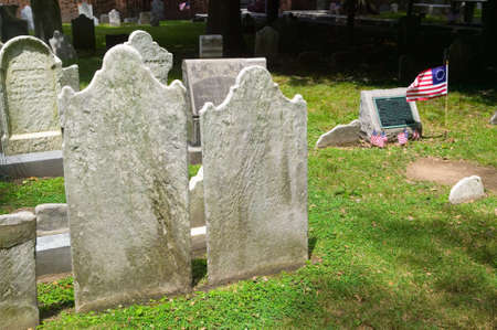 signer: Gravestone with flag for Francis Hopkinson in Christ Church Burial Ground, Philadelphia, Pennsylvania, signer of the Declaration of Independence and designer of the American Flag Editorial