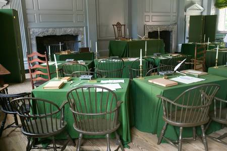 declaration of independence: The Assembly Room where Declaration of Independence and U.S. Constitution were signed in Independence Hall, Philadelphia, Pennsylvania