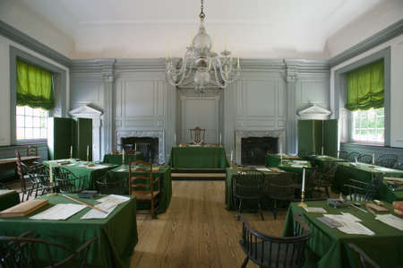 signed: The Assembly Room where Declaration of Independence and U.S. Constitution were signed in Independence Hall, Philadelphia, Pennsylvania