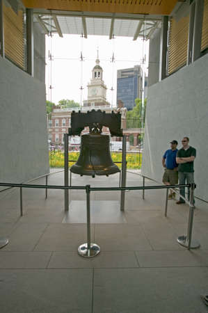 center hall colonial: Liberty Bell, at Liberty Bell Center, in front of Independence Hall in historic area of Philadelphia, Pennsylvania Editorial