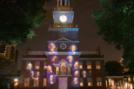founding fathers: Projections of Founding Fathers on outside of Independence Hall, Philadelphia, Pennsylvania