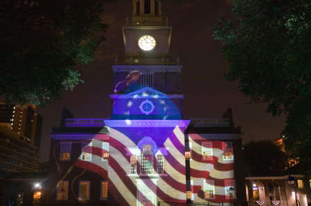 Projections of Betsy Ross Flag on outside of Independence Hall, Philadelphia, Pennsylvania