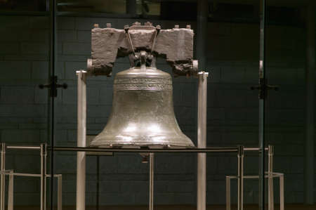 cultural artifacts: Night shot of Liberty Bell, at Liberty Bell Center, in Historic District of Philadelphia, Pennsylvania