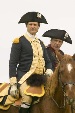 commanded: General George Washington and Major General Benjamin Lincoln confer before march to Surrender Road at the 225th Anniversary of the Victory at Yorktown, a reenactment of the siege of Yorktown, where General George Washington commanded 17,600 American troop