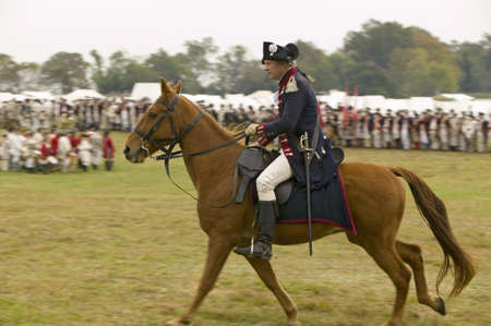 commanded: Major General Benjamin Lincoln on horseback at the 225th Anniversary of the Victory at Yorktown, a reenactment of the siege of Yorktown, where General George Washington commanded 17,600 American troops and French Comte de Rochambeau lead 5500 French troop Editorial