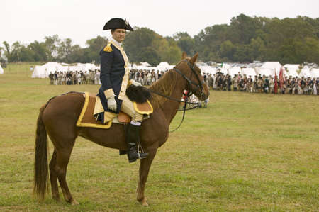 commanded: General George Washington reviews Patriot and Colonial Troops at camp before marching to Surrender Field at the 225th Anniversary of the Victory at Yorktown, a reenactment of the siege of Yorktown, where General George Washington commanded 17,600 American Editorial