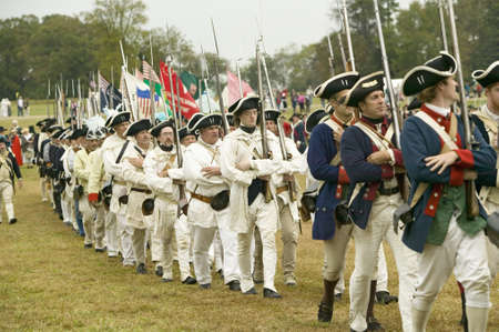 regiment: French troops march to Surrender Field at the 225th Anniversary of the Victory at Yorktown, a reenactment of the siege of Yorktown, where General George Washington commanded 17,600 American troops and French Comte de Rochambeau lead 5500 French troops, to