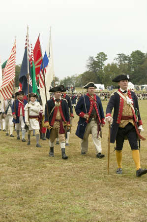 Regimental flag procession at the 225th Anniversary of the Victory at Yorktown, a reenactment of the siege of Yorktown, where General George Washington commanded 17,600 American troops and French Comte de Rochambeau lead 5500 French troops, together defea
