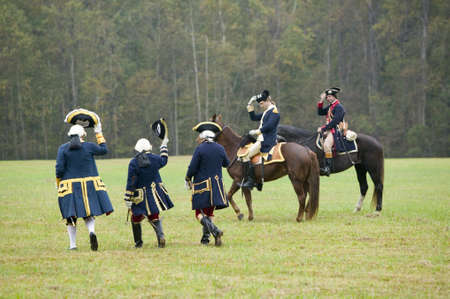 tricorn hat: General Washington and aid salute the French staff including Comte De Grasse and General Rochambeau at the 225th Anniversary of the Victory at Yorktown, a reenactment of the siege of Yorktown, where General George Washington commanded 17,600 American troo