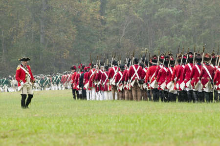 regiment: General Charles OHara surrenders to General George Washington at the 225th Anniversary of the Victory at Yorktown, a reenactment of the siege of Yorktown, where General George Washington commanded 17,600 American troops and French Comte de Rochambeau lea