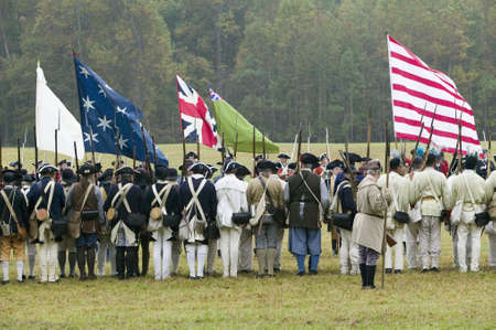 commemoration: Continentals arrive at the 225th Anniversary of the Victory at Yorktown, a reenactment of the siege of Yorktown, where General George Washington commanded 17,600 American troops and French Comte de Rochambeau lead 5500 French troops, together defeating Ge Editorial