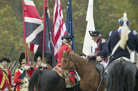 commanded: General Charles OHara confers and surrenders to General George Washington at the 225th Anniversary of the Victory at Yorktown, a reenactment of the siege of Yorktown, where General George Washington commanded 17,600 American troops and French Comte de Ro