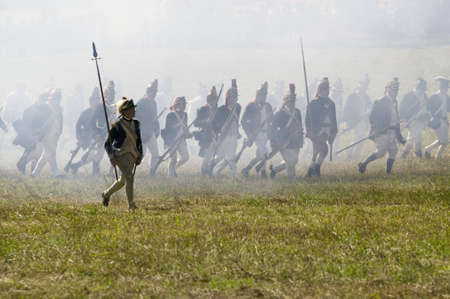 battleground: Continental Light Infantry storms Redoubt No. 10 in re-enactment of Attack on Redoubts 9 & 10, where the major infantry action of the siege of Yorktown took place.  General Washingtons armies captured two British fortifications, Endview Plantation (circa