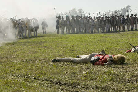 civil war: Re-enactment of Attack on Redoubts 9 & 10 where the major infantry action of the siege of Yorktown took place.  General Washingtons armies captured two British fortifications, Endview Plantation (circa 1769), near Yorktown Virginia.  Part of the 225th an