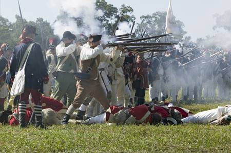 revolutionary war: Re-enactment of Attack on Redoubts 9 & 10 where the major infantry action of the siege of Yorktown took place. General Washingtons armies captured two British fortifications, Endview Plantation (circa 1769), near Yorktown Virginia. Part of the 225th anni