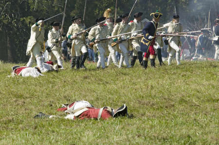 battleground: Re-enactment of Attack on Redoubts 9 & 10 where the major infantry action of the siege of Yorktown took place. General Washingtons armies captured two British fortifications, Endview Plantation (circa 1769), near Yorktown Virginia. Part of the 225th anni