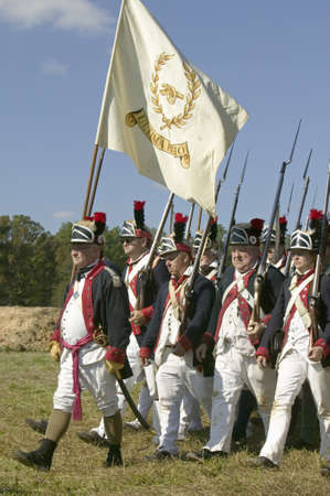 Continentals on the march in re-enactment of Attack on Redoubts 9 & 10, where the major infantry action of the siege of Yorktown took place. General Washingtons armies captured two British fortifications, Endview Plantation (circa 1769), near Yorktown Vi