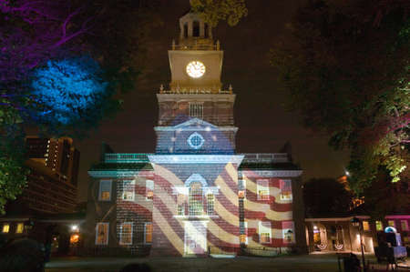 Projections of Betsy Ross Flag and US Constitution on outside of Independence Hall, Philadelphia, Pennsylvania