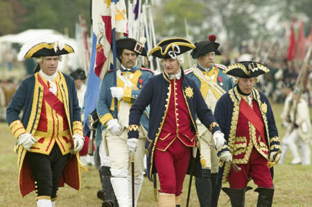 commanded: Compte De Grasse, Major General in casual attire, General Rochambeau at the 225th Anniversary of the Victory at Yorktown, a reenactment of the siege of Yorktown, where General George Washington commanded 17,600 American troops and French Comte de Rochambe