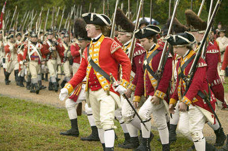 commanded: The British march to Surrender Field at the 225th Anniversary of the Victory at Yorktown, a reenactment of the siege of Yorktown, where General George Washington commanded 17,600 American troops and French Comte de Rochambeau lead 5500 French troops, toge