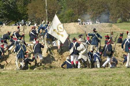 battleground: Redoubt no. 10 taken by the Continental Light Infantry in re-enactment of Attack on Redoubts 9 & 10, where the major infantry action of the siege of Yorktown took place.  General Washingtons armies captured two British fortifications, Endview Plantation  Editorial