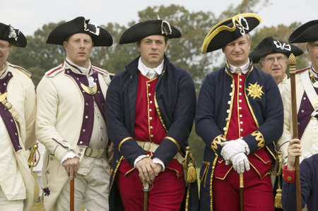 british army: Portrait of French and Patriot Revolutionary re-enactors as part of the 225th Anniversary of the Siege of Yorktown, Virginia, 1781, ending the American Revolution with the defeat of the British Army and Lord Cornwallis surrendering to General Washington.