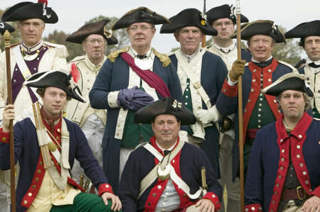 american revolution: Portrait of French and Patriot Revolutionary re-enactors as part of the 225th Anniversary of the Siege of Yorktown, Virginia, 1781, ending the American Revolution with the defeat of the British Army and Lord Cornwallis surrendering to General Washington.