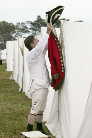 british army: Re-enactment of Revolutionary War Encampment demonstrates camp life of Continental Army as part of the 225th Anniversary of the Siege of Yorktown, Virginia, 1781, ending the American Revolution with the defeat of the British Army and Lord Cornwallis surre