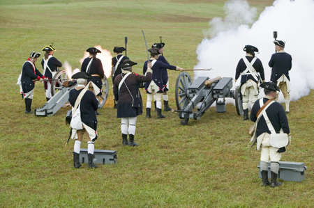 ceasefire: Revolutionary War re-enactors re-create the cannon fire and subsequent cease-fire of the British army, in which they flew the white flag requesting a truce, bringing an end to the bombardment by the Allied armies and beginning the negotiations to surrende