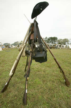Re-enactment of Revolutionary War Encampment demonstrates camp life of Continental Army as part of the 225th Anniversary of the Siege of Yorktown, Virginia, 1781, ending the American Revolution with the defeat of the British Army and Lord Cornwallis surre