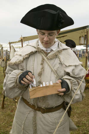 tricorne: Re-enactment of Revolutionary War Encampment demonstrates camp life of Continental Army as part of the 225th Anniversary of the Siege of Yorktown, Virginia, 1781, ending the American Revolution with the defeat of the British Army and Lord Cornwallis surre