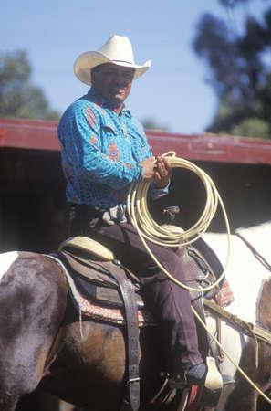 warren: Portrait of cowboy on horseback with lasso, Santa Barbara Old Spanish Days, Earl Warren Fairground
