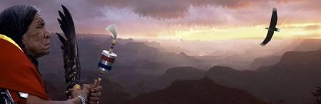 totem indien: C'est un collage num�rique d'un Native American Indian donnant sur le Grand Canyon. Il ya un aigle chauve am�ricain volant haut dans le canyon.