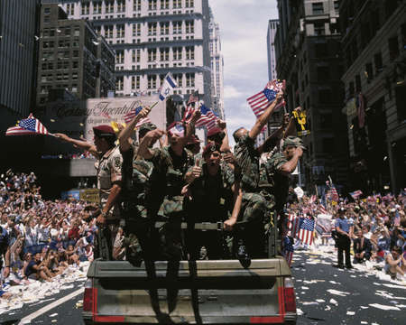 road warrior: This is a Ticker Tape Parade commemorating the Desert Storm Victory Parade. It is located in the Canyon of Heroes. Around 4.7 million people attended.