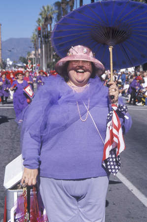 plus sized: Plus sized woman marching in the Doo Dah Parade, Pasadena, California
