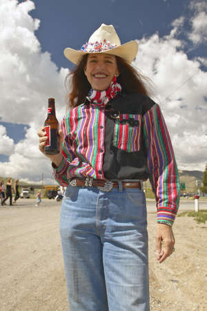 western usa: Cowgirl on the Fourth of July, in Lima Montana