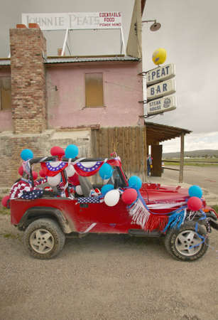 Jeep decorated for the Fourth of July,in Lima Montana