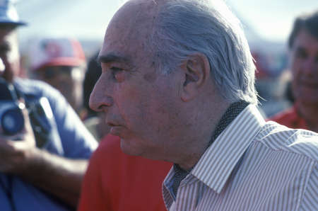 A famous Argentines-Italian car driver, Fangio, participates at the 35th Pebble Beach, California Concours vintage car show, ca. 1985