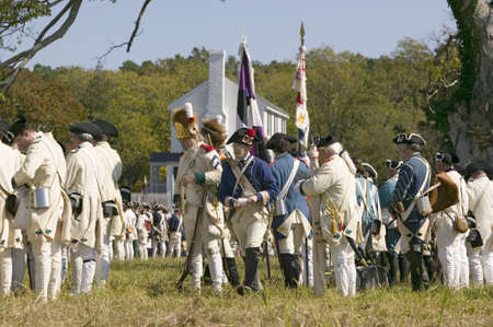 battleground: Re-enactment of Attack on Redoubts 9 & 10 where the major infantry action of the siege of Yorktown took place.  General Washingtons armies captured two British fortifications, Endview Plantation (circa 1769), near Yorktown Virginia.  Part of the 225th an