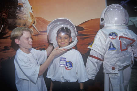 Children try on $1 million spacesuit at Space Camp, George C. Marshall Space Flight Center, Huntsville, AL