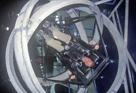 simulator: Child in anti-gravity exercise machine at Space Camp, George C. Marshall Space Flight Center, Huntsville, AL Editorial