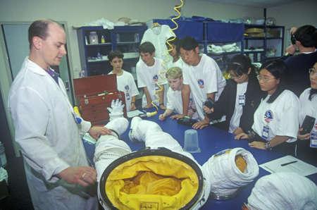 spacesuit: Technician demonstrates $1 million spacesuit at Space Camp, George C. Marshall Space Flight Center, Huntsville, AL