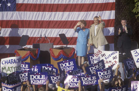 on the dole: Presidential candidate Bob Dole speaks at a rally in Santa Barbara after the 1996 Republican National Convention in San Diego, California.