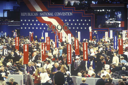 political and social issues: Delegates and campaign signs at the Republican National Convention in 1996, San Diego, CA