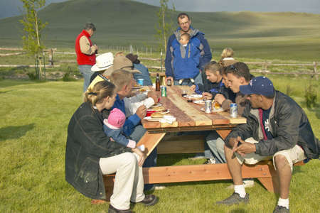 lakeview: Western July 4 outdoor barbecue at Peggy Delaneys ranch in Centennial Valley, near Lakeview, MT