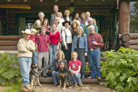 Family and friends of John Taft in Centennial Valley at Taft Ranch, Centennial Valley, near Lakeview MT Editorial