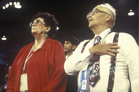 recite: Delegates recite the Pledge of Allegiance at the Republican National Convention in 1996, San Diego, CA