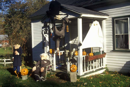 House decorated for Halloween in Newfane, VT