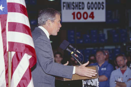 laconia: George W. Bush speaking from podium at campaign rally, Laconia, NH, January 2000
